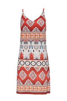 Petite Red Tribal Camisole Dress