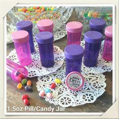 20 Pill Bottles PURPLE PINK Candy Jars Princess Birthday Party 3814 DecoJars USA #DecoJars #party