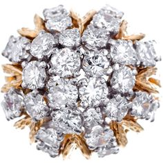 Pre-owned 1960s Diamond Dome Cocktail Ring ($10,000) ❤ liked on Polyvore featuring jewelry, rings, cluster rings, 18 karat gold ring, 18k ring, diamond rings, 18k diamond ring and statement rings