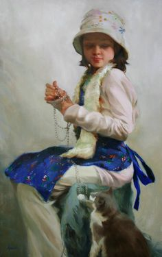 Pearls by Carol Arnold Oil 40 x 26 I Love Cats, Crazy Cats, Figure Painting, Painting & Drawing, Painting Competition, Fancy Cats, Cat Colors, Animals For Kids, Beautiful Paintings