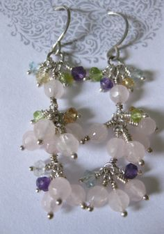 Rose quartz, citrine, peridot,amethyst, aquamarine faceted gemstones sterling silver earrings Casual wear Spring colors silver jewelry - pinned by pin4etsy.com