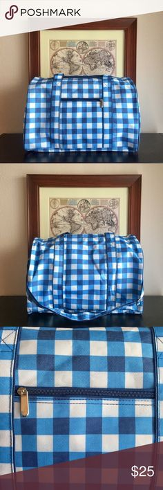 "NWOT Weekender Bag Ready For A Break? This Blue And White Checkered Weekender Bag Is Perfect For An Overnight Stay Or Weekend Get-Away. Never Used (NWOT) And In Excellent Condition.   Approximate Measurements:  *️⃣ Length 18"" *️⃣ Height 11"" *️⃣ Depth 10"" *️⃣ Includes An Adjustable Strap (See Pic #2) *️⃣ Zipper Closure *️⃣ Small Zipper Pocket In Front  *️⃣ 100% Polyester (Durable) Bags Travel Bags"