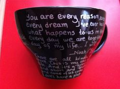 Items similar to Mug black (extra large) with quotes from The Notebook and P. I Love You on Etsy The Notebook Quotes, Shit Happens, Mugs, Unique Jewelry, Handmade Gifts, Black, Etsy, Kid Craft Gifts, Black People