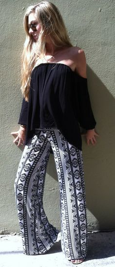 Black White Summer Pants