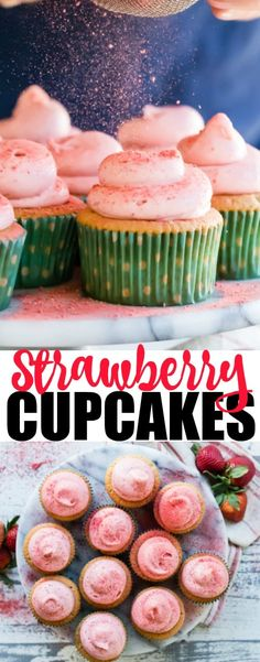 These cupcakes are pretty, pink, and light as clouds. I use fruit purée in the batter and freeze dried strawberries whipped into a classic cream cheese frosting to give them their rosy color. As a result, every bite is a berry lover's dream come true! Strawberry Cream Cheese Frosting, Cupcake Cream, Strawberry Cupcake Recipes, Cupcake Flavors, Easy Desserts, Delicious Desserts, Dessert Recipes, Dried Berries, Yummy Cupcakes