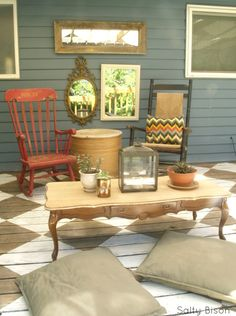 "Outdoor space makeover 5... I love the rocking chair that says ""Rock on"" (:"