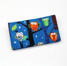 Owls Fabric Checkbook Cover for Duplicate Checks by QuiltSewCover