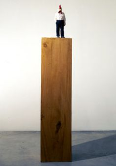 Stephan Balkenhol, Hybrid (Rooster-Man) 1996 wawa wood and wood stain 70 x 13 1/4 x 9 1/2 inches