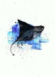 Items similar to Stingray - Illustration Print on Etsy Sea Life Tattoos, Body Art Tattoos, Tattoo Ink, Tatoos, Painting & Drawing, Watercolor Paintings, Watercolour, Watercolor Jellyfish, Watercolor Fish