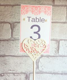 Pink lace effect printed wedding table numbers, table number printed, card table numbers, wedding stationary, wedding accessories by KraziCrochet on Etsy