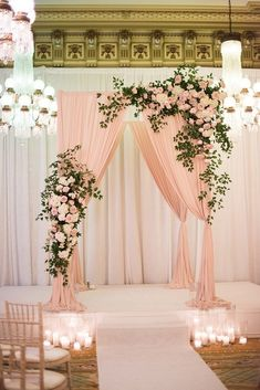 30 Popular Dusty Rose Wedding Ideas Popular Dusty Rose Wedding Ideas ★ dusty rose wedding indoor ceremony with arch decorated with roses greenery and cloth candle aisle elisa bricker Wedding Stage Decorations, Backdrop Decorations, Wedding Centerpieces, Wedding Table, Wedding Ceremony, Wedding Ideas, Wedding Bride, Wedding Mandap, Wedding Receptions