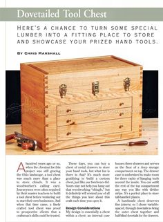 Dovetailed Tool Chest Plans - Workshop Solutions