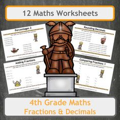 12 fun, Viking-themed worksheets, covering many aspects of fractions and decimals. Worksheets include a range of questions and topics including finding fractions, comparing fractions, rounding numbers and percentages. All worksheets are Viking themed so use them alongside history lessons to surround your class with the subject.