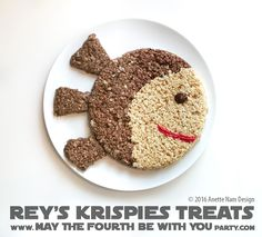 Rey's Krispies Treats Star Wars Themed Food, Star Wars Party Food, Star Wars Food, Star Wars Day, Rice Crispy Treats, Krispie Treats, Rice Krispies, Party Food Platters, Star Wars Birthday