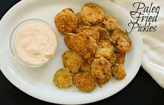 Fried Pickles are the perfect snack to munch on just about any time of the day. These paleo fried pickles are of course gluten free and completely yummy! Paleo Zucchini Fritters, Paleo Recipes, Cooking Recipes, Easy Recipes, Atkins Recipes, Paleo Meals, Coconut Recipes, Protein Recipes, Diet Meals