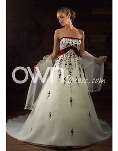2010 Latest Style Strapless Glamorous Wedding Dress, Color Accented Wedding Dresses - ownDress.com