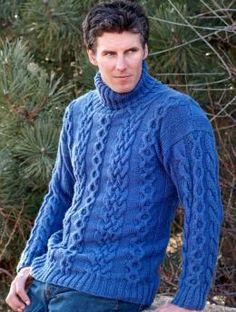 Men's Turtleneck Sweater pattern, om ideeën op te doen voor de kabels