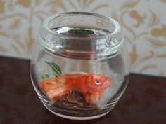 Dolls House Miniature Goldfish Bowl Orange Fish - Over 10,000 other miniature dollshouse items in stock! Visit www.thedollshousestore.co.uk