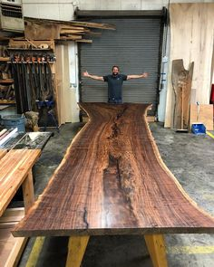 """Huge claro walnut live edge dining table in the works. 60-48-88"""" wide X 216"""" long (18 feet)"""