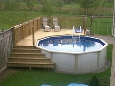 pool deck....with left stairs meeting lower deck, and also stairs on right side meeting the maintenance/storage area. by Ideas for Anna