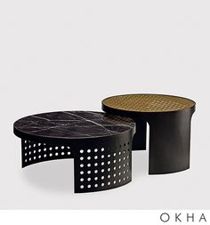 Silo Nesting coffee tables are designed in patinated mild steel frame construction, with brass, marble or glass top. Coffee Table To Dining Table, Chair Side Table, Modern Coffee Tables, Modern Table, A Table, Design Furniture, Metal Furniture, Table Furniture, Contemporary Furniture