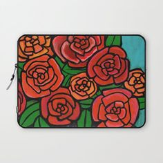 Red Roses Laptop Sleeve by claudineintner Laptop Cases, Rich Colors, Laptop Sleeves, Red Roses, Art Decor, Colorful, Display, Zipper, Patterns