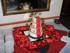 red carpet with gold stars cake idea