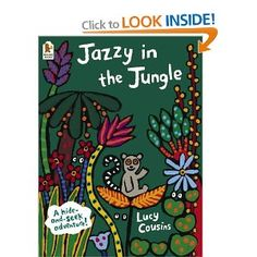 Mama Jojo is looking for Baby Jazzy. A hide-and-seek book with lots of cut-out pages and repetitive phrases.  Themes: Hide-and-seek; Jungle animals; Repetitive phrases.