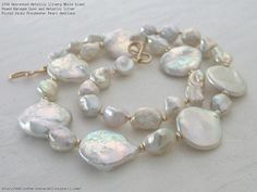 Untreated Metallic Silvery White Giant Round Baroque Coin and Metallic Silver Pastel Keshi Freshwater Pearl Necklace
