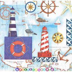 10 Servietten Mittelmeer MEDITERRAN SEA Serviettentechnik Motivserviette maritim