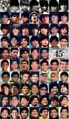 Diego Maradona's faces through his 45 years. Diego Armando, Fred, Best Player, Plein Air, Soccer Ball, Sport, Nostalgia, History, 45 Years