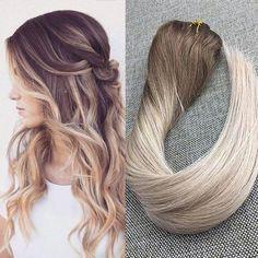 7 Pcs/Set Clip In Balayage Natural Straight Human Hair Extensions(#5 #20 #24)