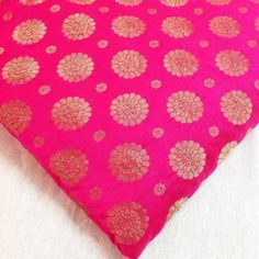 Indian Silk- Hot Pink and Gold Silk Fabric - Silk for Dresses, Pillow, Crafting, $16.00