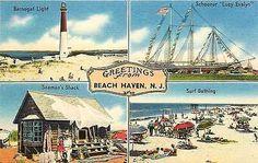 Beach Haven New Jersey NJ 1940s Four Views Lighthouse Schooner Vintage Postcard