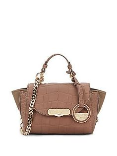 Versace Collection Chain Detailed Leather Tote - Taupe - Size No Size