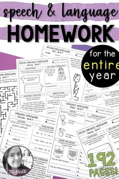 192 pages of articulation, pragmatics, and language different levels) homework to send home with your elementary students so you don't have to worry about it all year! Speech Therapy Activities, Speech Language Pathology, Speech And Language, Therapy Worksheets, Articulation Therapy, Vocabulary Activities, Language Activities, Receptive Language, School Psychology