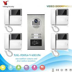 YobangSecurity Video Intercom 4.3 Inch Video Door Phone Doorbell Intercom System RFID Access Door Camera For 4 Unit Apartment