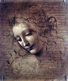 Head of a Woman - Leonardo Da Vinci 1902 I see texture in this beautiful piece of art in the woman's face. I feel as if I could simply reach out and touch her skin while looking at this.