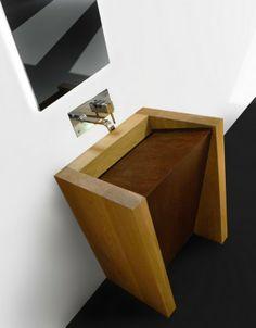 Washbasin in solid wood and weathering steels /// Lavabo in legno massello e acciaio corten -------  Diego Redondo e Maria Gil