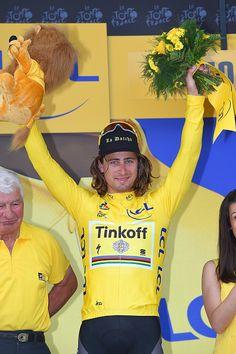 #TDF2016 103th Tour de France 2016 / Stage 4 Podium / Peter SAGAN Yellow Leader Jersey / Ramond POULIDOR / Celebration / Saumur Limoges / TDF /