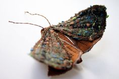 Reserved for Luna Miez / Soft Sculpture Copper Underwing Moth Fabric Brooch / Vintage Wool Silk Brown / Made to Order / Last One