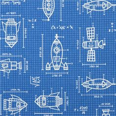blue spaceship sketches & formulas fabric 'Spaced Out' Robert Kaufman