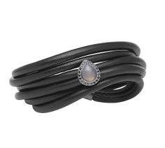 afe1b29e3c8 Kranz & Ziegler STORY Armbånd i læder m. agat og sorte zirkonia  #kranzogziegler #