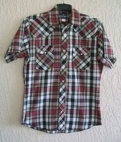 13bd0324 Wrangler Western Shirt Mens M Pearl Snap Plaid Short Sleeves #Wranger # Western Red Plaid