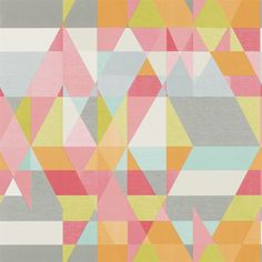 Axis Wallpaper - Lime, Peony & Sunset