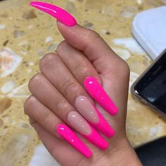 146 stunning and gorgeous summer coffin acrylic nail designs for your inspiration page 28 Coffin Nails Matte, Best Acrylic Nails, Acrylic Nail Designs, Pink Nail Designs, Nails Design, Faux Ongles Long, Multicolored Nails, Fire Nails, Neon Nails