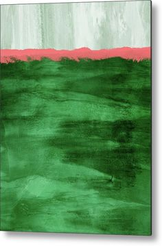 Abstract Metal Print featuring the mixed media Green And Coral Landscape- Abstract Art By Linda Woods by Linda Woods