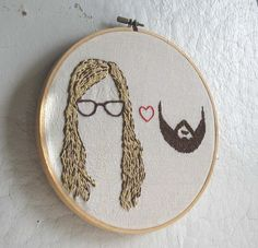 custom embroidered hair portrait. --c/o ilgattoselvatico