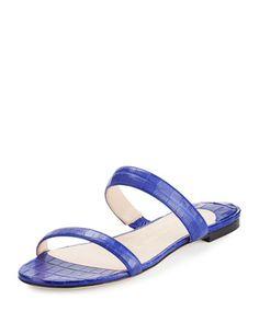 Frida+Two-Strap+Crocodile+Flat+Slide+Sandal+by+Nancy+Gonzalez+at+Bergdorf+Goodman.