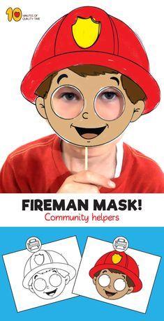 Fireman Mask Template - New ideas Fireman Kids, Fireman Crafts, Community Helpers Crafts, People Who Help Us, Community Workers, Mask Template, Toddler Crafts, Mask For Kids, Preschool Activities